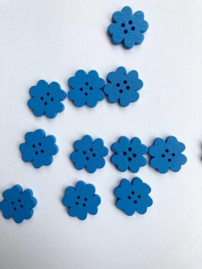 Bright Mid Blue shamrock floral shape flat wooden button