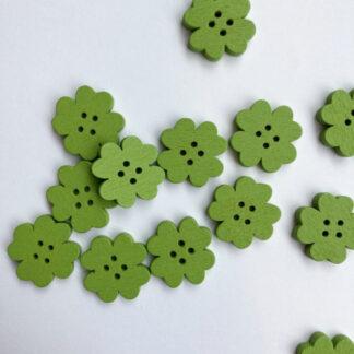 Grass Green shamrock floral shape flat wooden button