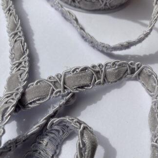 grey velvet and gimp figure of eight braid