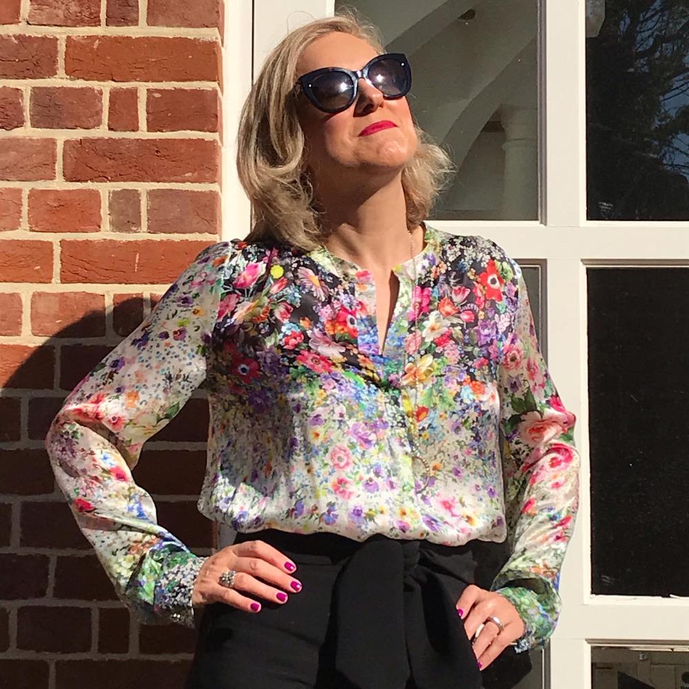digital floral print silk blouse McCall's M7324