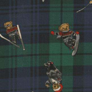 black watch tartan martini drinking snowboarding and skiing teddy bear print cotton babycord